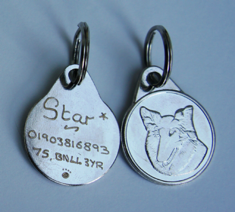 ROUGH COLLIE  25MM  ENGRAVED TAG